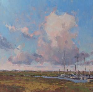 """Cove Harbor Clouds"" - 12"" x 12"" - Oil"