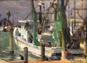"""""""Airing the Nets"""" - 9"""" x 12"""" - Oil"""