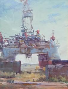 """West Sirius, Sea Drill"" - 14"" x 11"" - Oil"