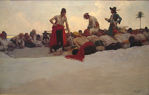 "Howard Pyle - ""So the Treasure Was Divided"" - 19.5"" x 29.5"" - Oil  (1905)"