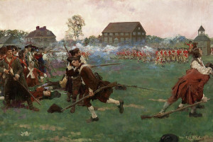 "Howard Pyle - ""The Fight on Lexington Common, April 19, 1775"" - 23.25"" x 35.25"" - Oil  (1898)"