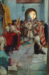 "Howard Pyle - ""Extorting Tribute from the Citizens"" - 29.5"" x 19.5"" - Oil  (1905)"