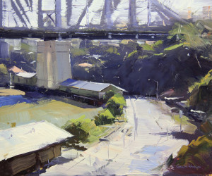 "Colley Whisson - The Story Bridge-Brisbane"" - 11"" x 13"" - Oil"