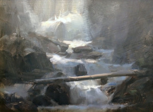 "Dave Santillanes - ""Bottom of the Falls"" - 9"" x 12"" - Oil"