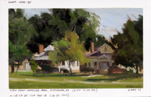 Plein air study used as reference for the larger studio piece. Field studies are typically done on 100% rag paper and sealed with a ground of acrylic gesso. Paper size is 5.5″x 8.5″ and the painting area is masked off according to the proportion needed. Each painting includes the following info: upper left tells me where I can locate the photographic reference. Info below the painting gives location, sometimes the direction I was facing, time, date, and abbreviations detailing the palette used. Each of the studies are placed in archival sleeves and filed in three-ring binders…100 per book. I am currently working on the tenth book.