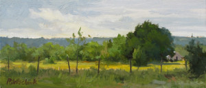 """Fence Line"" (Plein Air) - 6"" x 14.25"" (Unframed) - $1125.00. For any of us that have painted en plein air, something very special happens. We remember everything about it...the weather, who we were with, the conversations, how we felt when painting...all of it. This scene, not too far from my home, was painted NE of Wylie with two special friends. Christmas Special: $900.00."