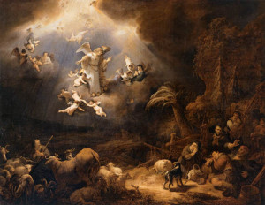 "Govert-Teunisz Flinck - ""Angels Announcing the Birth of Christ to the Shepherds"" - 63"" x 77"" - Oil  (1639)"