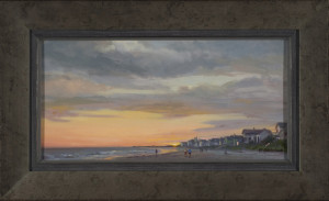 """Shoreline Sunset"" - 9"" x 18"" - Oil (Framed: 15"" x 24"")"