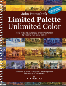 The workbook, showing just a small sampling of the many paintings and variety of color schemes included in the book while using the same three-primary palette.